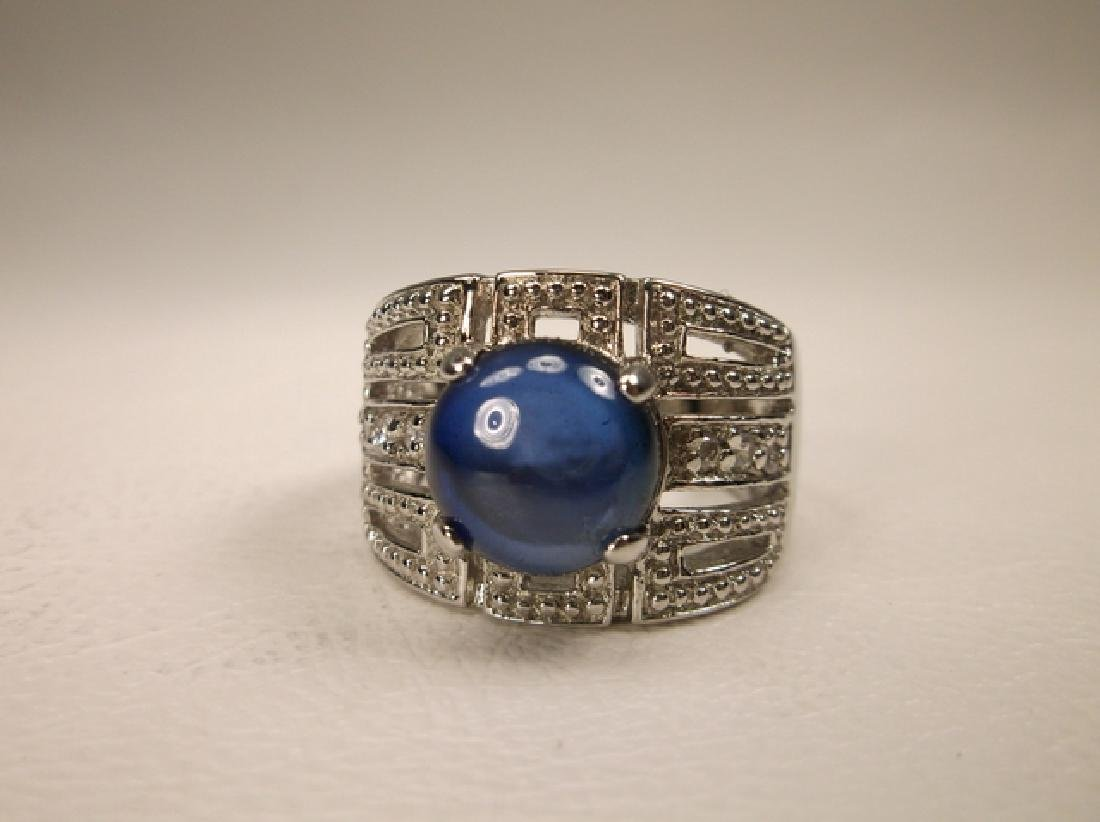Stunning Sterling Silver Blue Stone large Ring Size