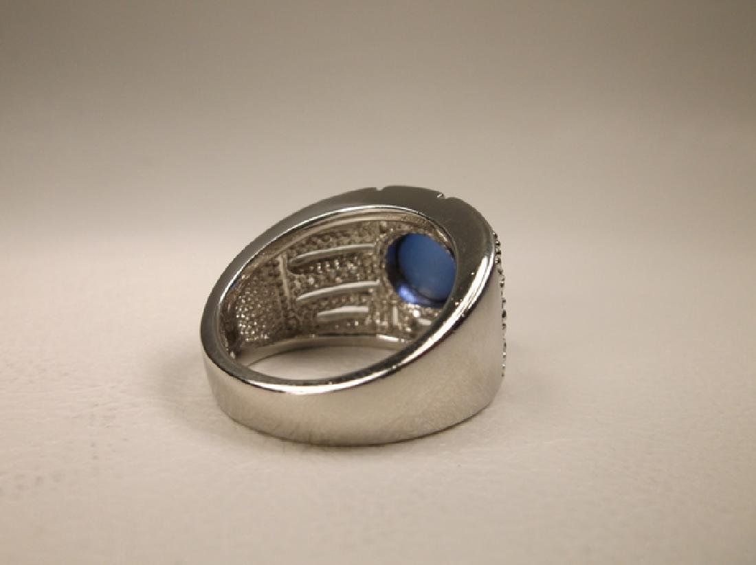 Stunning Sterling Silver Blue Stone large Ring Size - 4