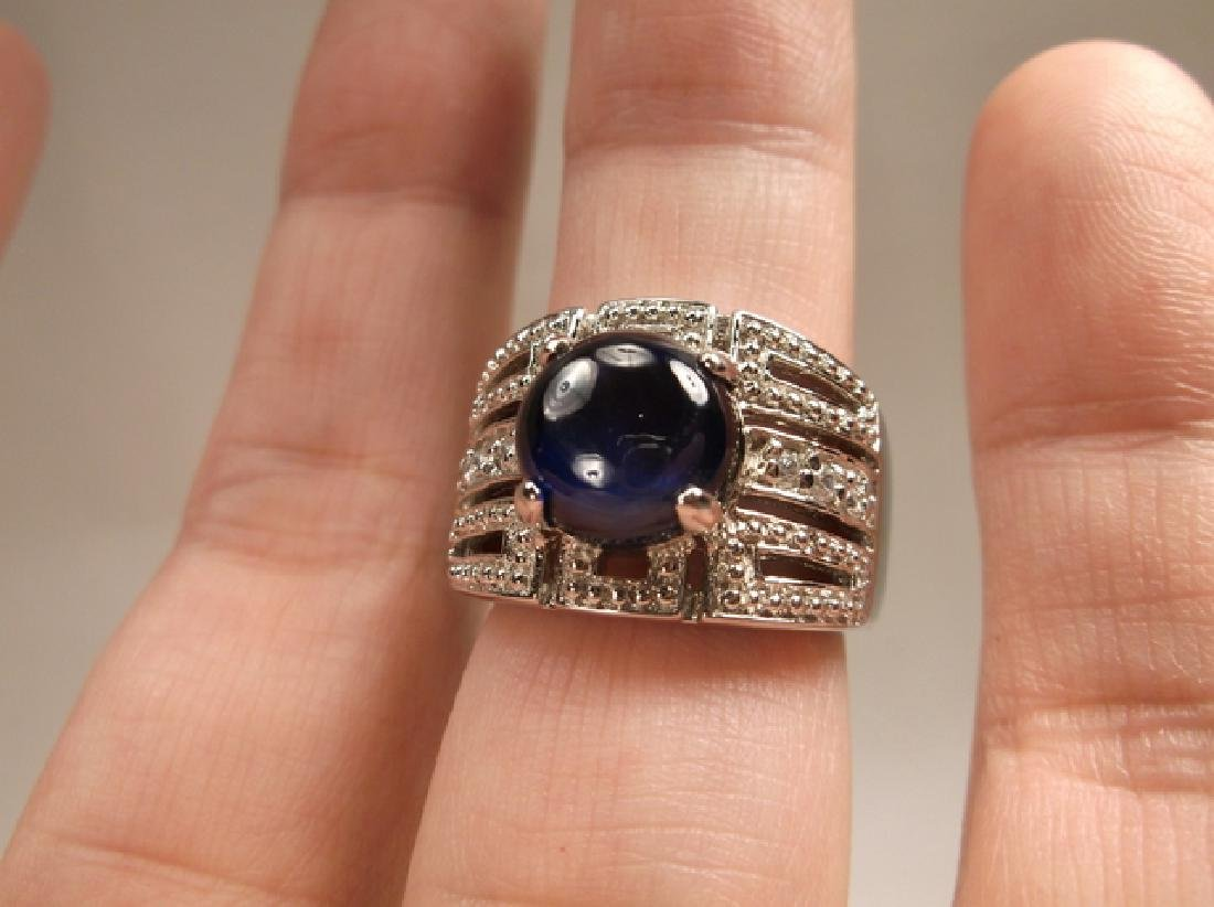 Stunning Sterling Silver Blue Stone large Ring Size - 6