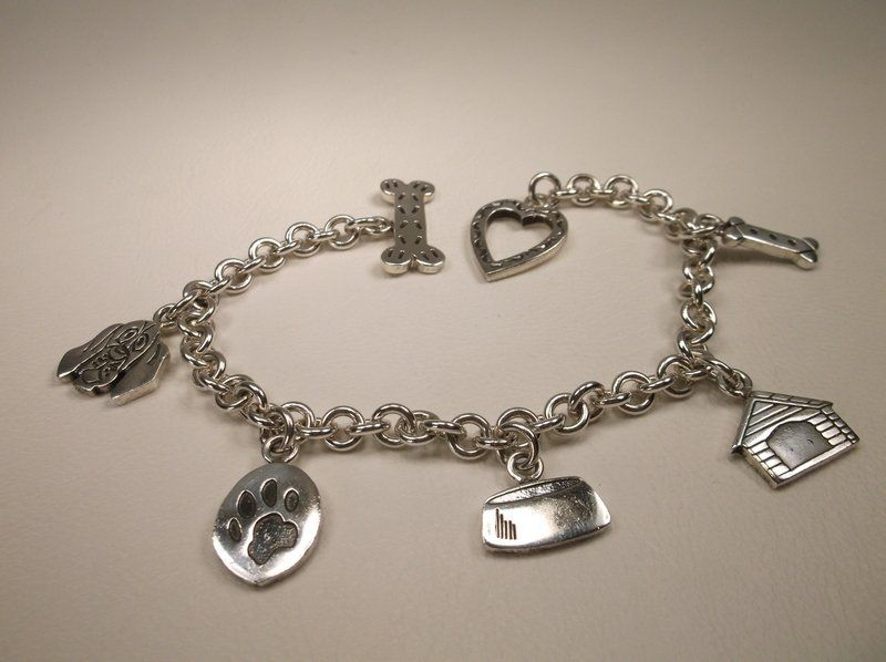 """Thick Sterling Silver Dog Lovers Charm Bracelet 7.5"""""""