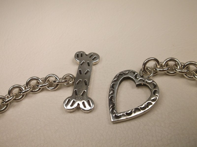 """Thick Sterling Silver Dog Lovers Charm Bracelet 7.5"""" - 2"""