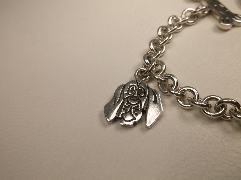 """Thick Sterling Silver Dog Lovers Charm Bracelet 7.5"""" - 3"""