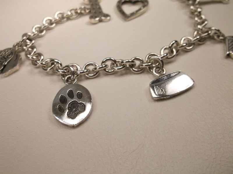 """Thick Sterling Silver Dog Lovers Charm Bracelet 7.5"""" - 4"""