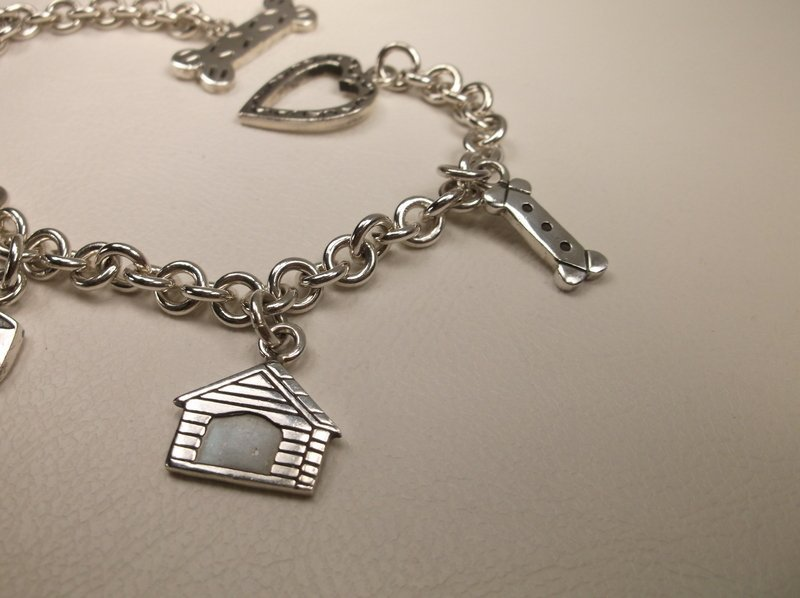 """Thick Sterling Silver Dog Lovers Charm Bracelet 7.5"""" - 5"""