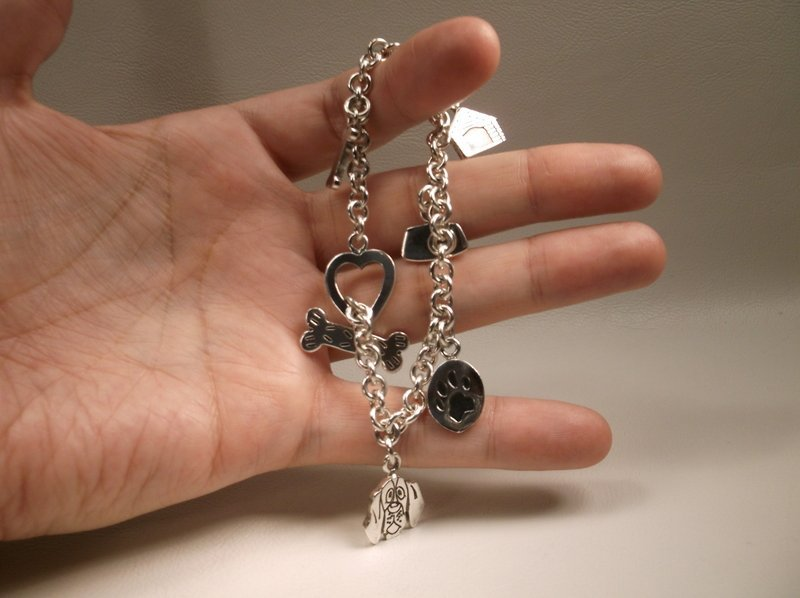 """Thick Sterling Silver Dog Lovers Charm Bracelet 7.5"""" - 7"""