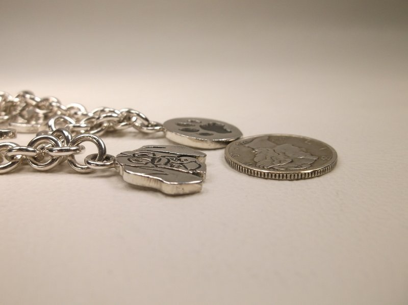 """Thick Sterling Silver Dog Lovers Charm Bracelet 7.5"""" - 8"""