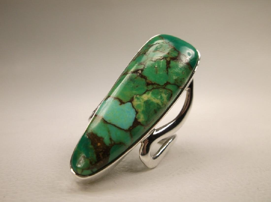 Stunning Huge Sterling Silver Green Turquoise Ring in - 2