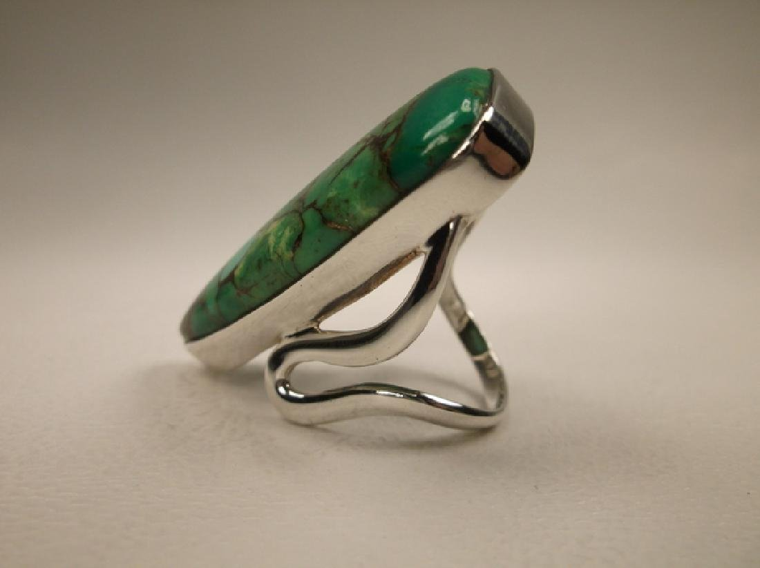 Stunning Huge Sterling Silver Green Turquoise Ring in - 3