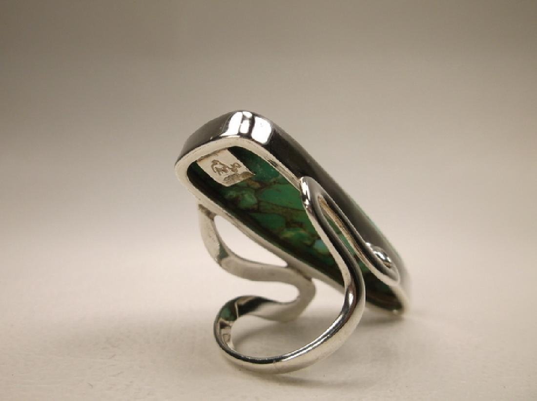Stunning Huge Sterling Silver Green Turquoise Ring in - 4