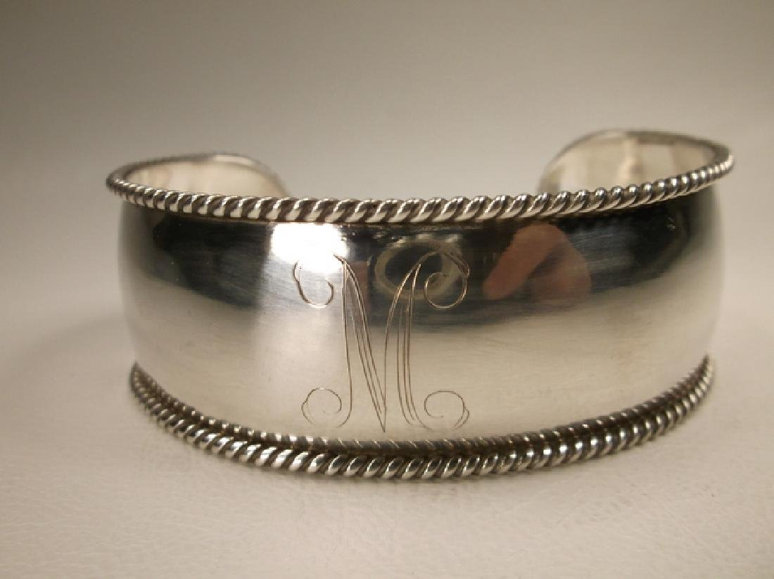 Gorgeous Heavy Sterling Silver Initial M Thick Cuff