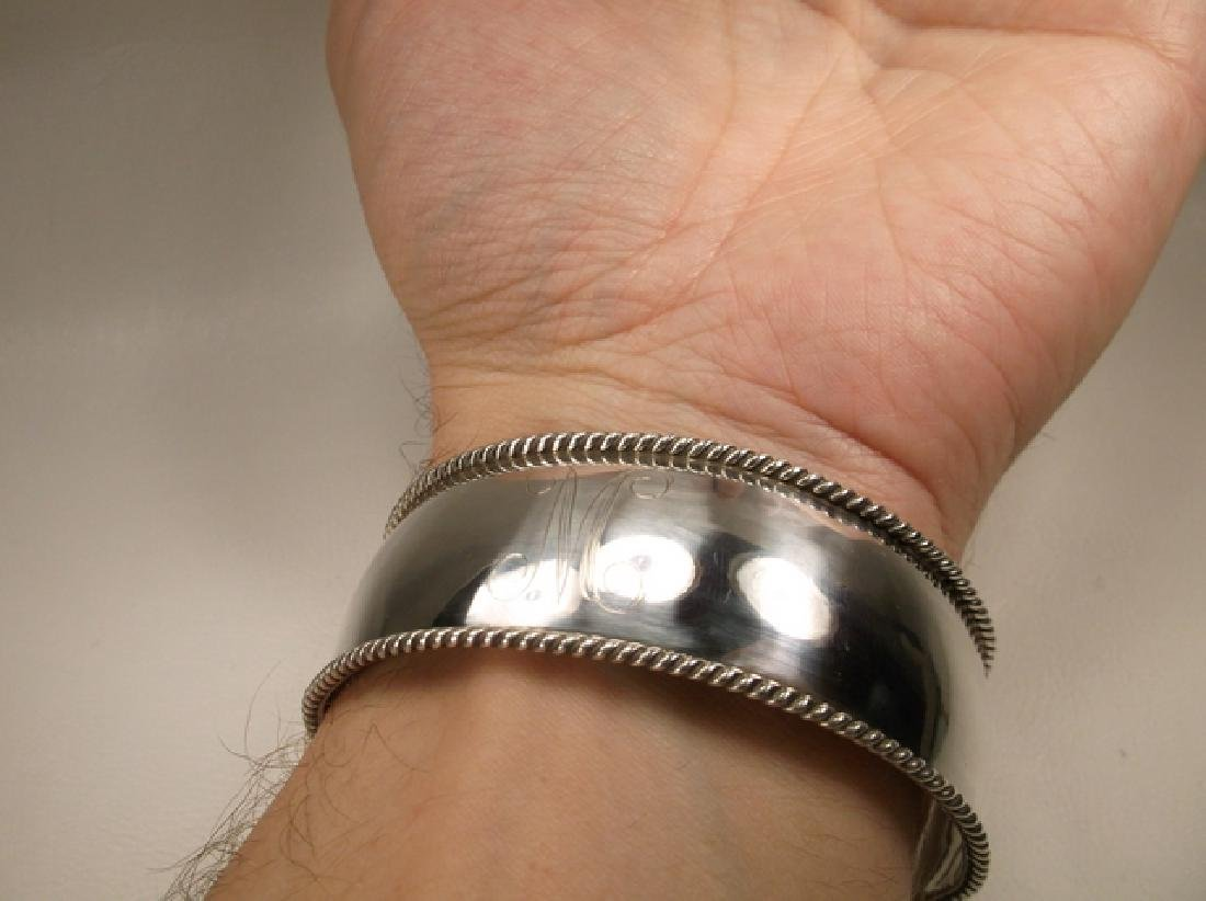 Gorgeous Heavy Sterling Silver Initial M Thick Cuff - 6