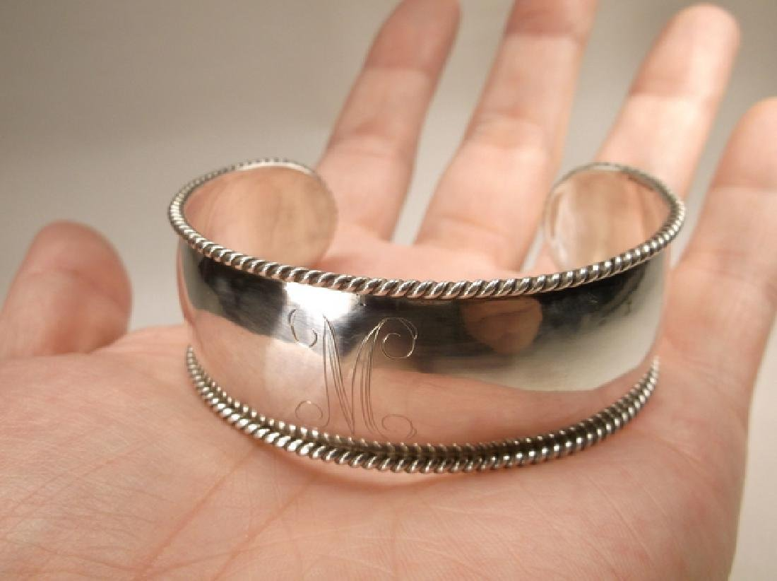 Gorgeous Heavy Sterling Silver Initial M Thick Cuff - 7