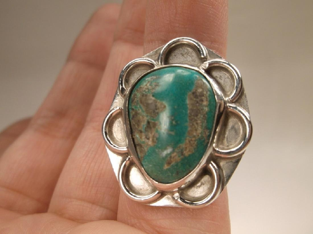 Gorgeous Huge Old Pawn Sterling Silver Turquoise Shield