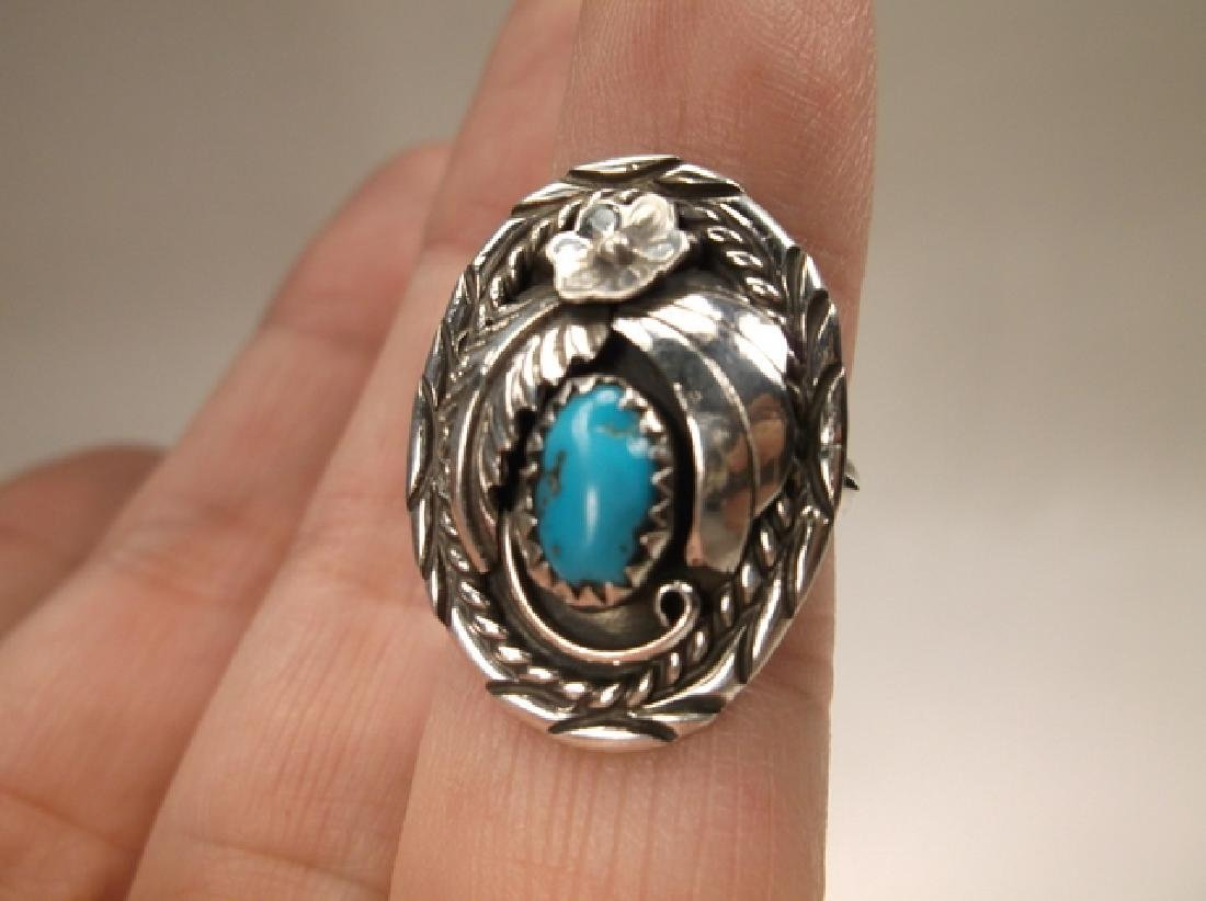Stunning Navajo Sterling Silver Turquoise Shield Ring J