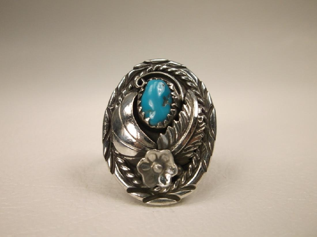 Stunning Navajo Sterling Silver Turquoise Shield Ring J - 2