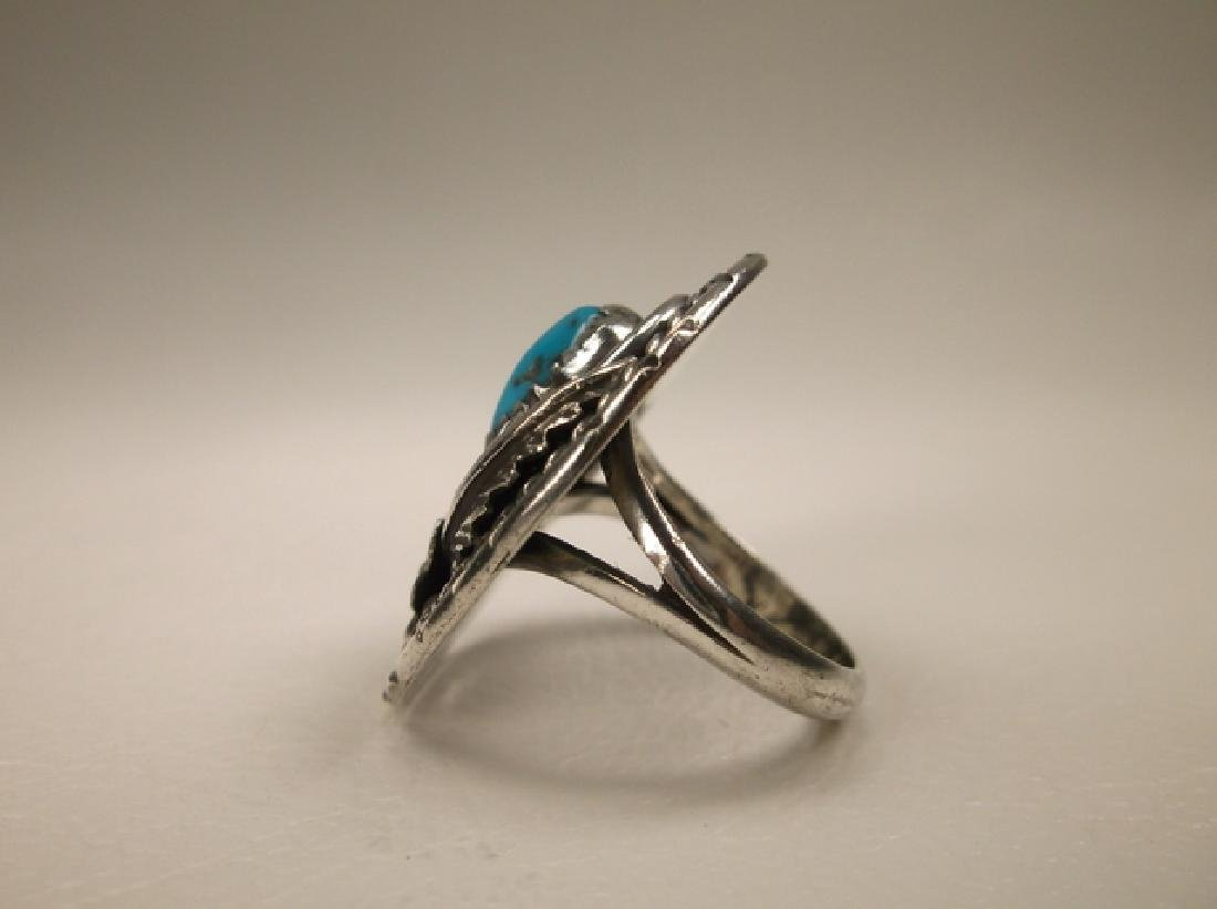 Stunning Navajo Sterling Silver Turquoise Shield Ring J - 3