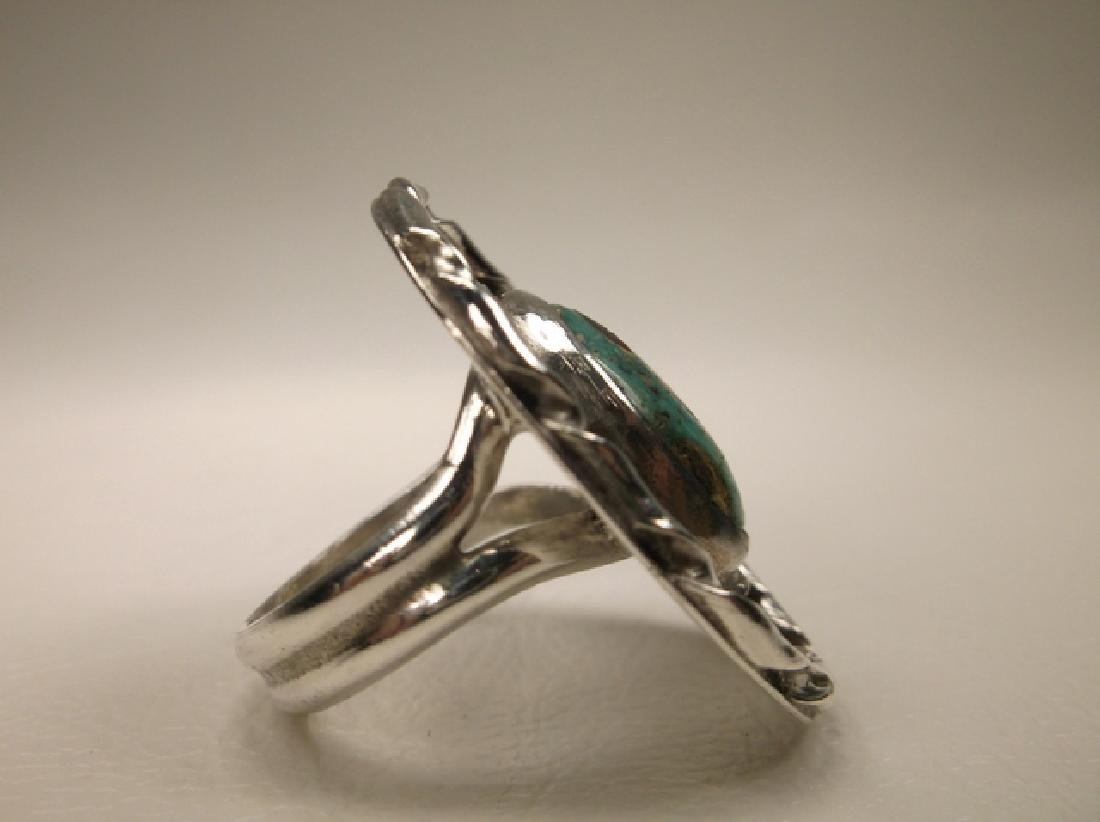 Stunning Navajo Sterling Silver Turquoise Shield Ring J - 5