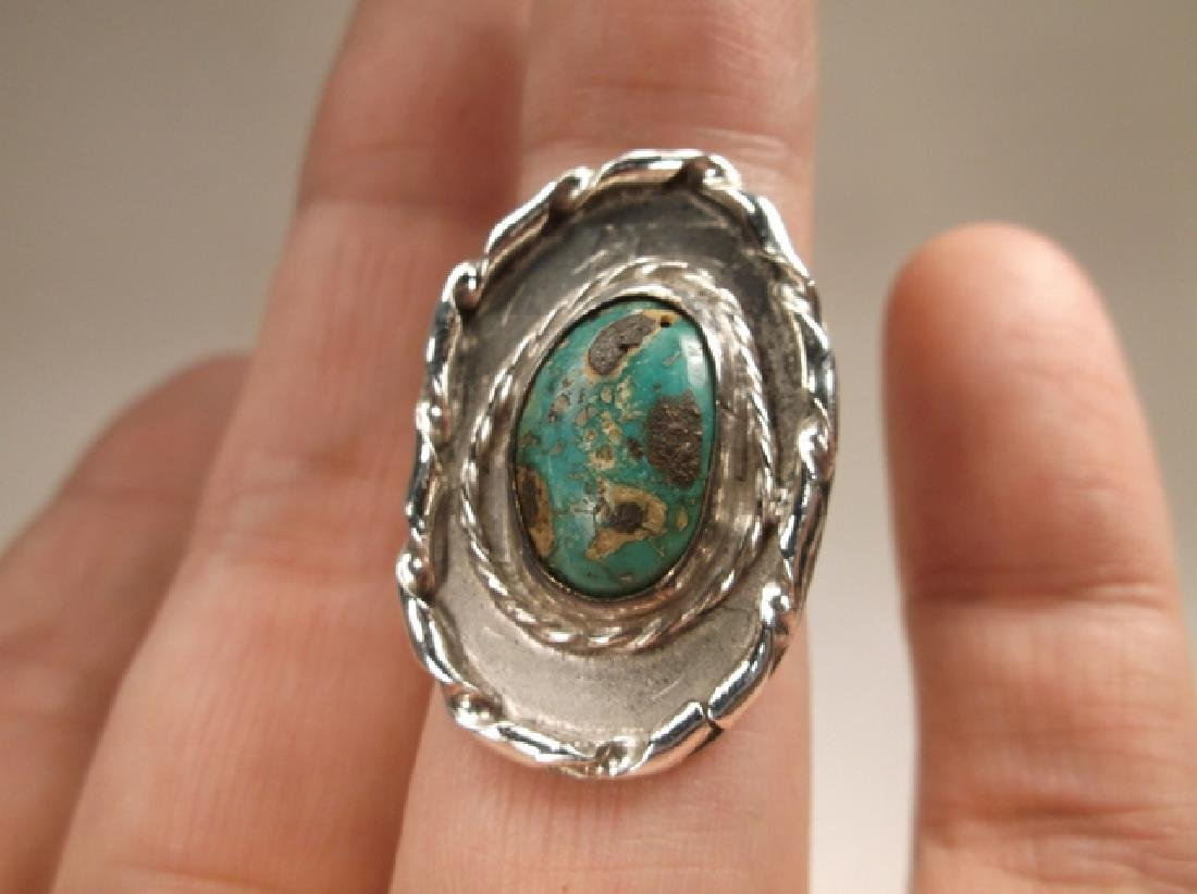 Stunning Old Pawn Sterling Silver Turquoise Shield Ring