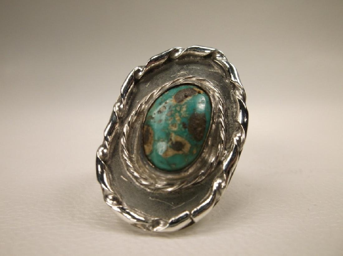 Stunning Old Pawn Sterling Silver Turquoise Shield Ring - 2