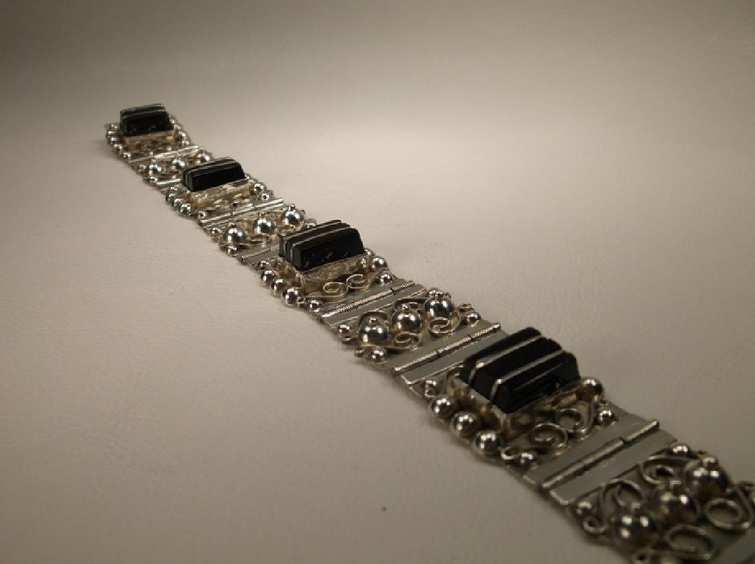 Stunn Antique Taxco Sterling Silver Onyx Panel Bracelet - 7