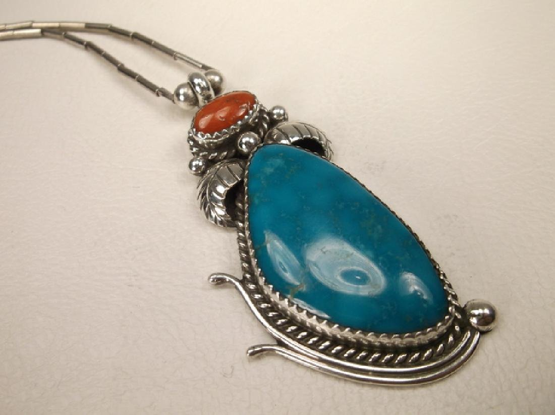 Navajo Sterling Silver Turquoise Red Coral Necklace