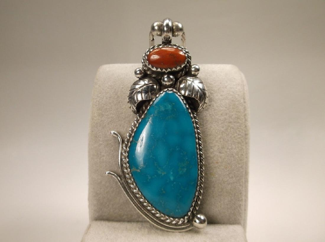 Navajo Sterling Silver Turquoise Red Coral Necklace - 2