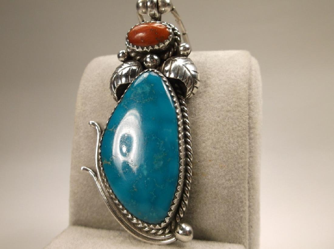 Navajo Sterling Silver Turquoise Red Coral Necklace - 3