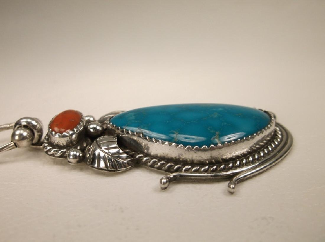 Navajo Sterling Silver Turquoise Red Coral Necklace - 4
