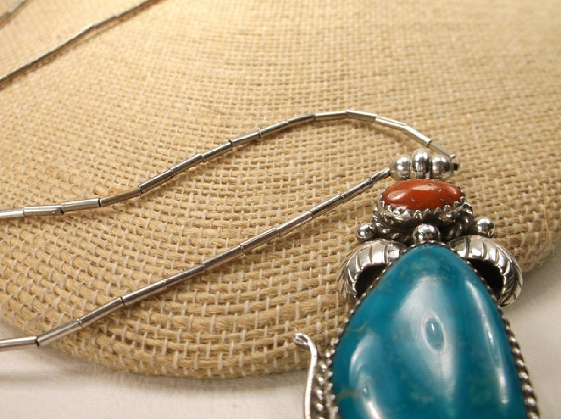 Navajo Sterling Silver Turquoise Red Coral Necklace - 7