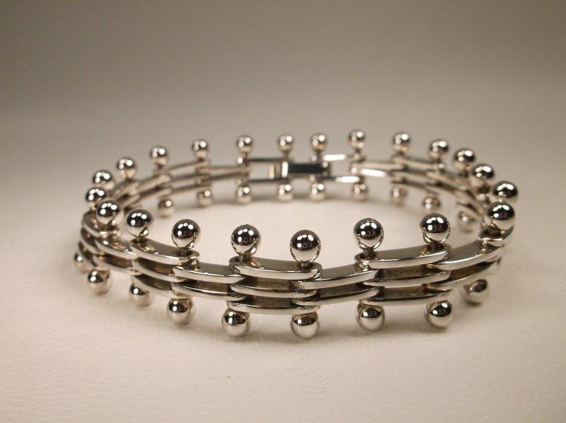 Stunn Thick Heavy Sterling Silver Ball & Stick Bracelet