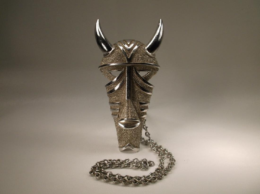 Extremely Rare Vint 1970s Trifari Huge Horned Tribal