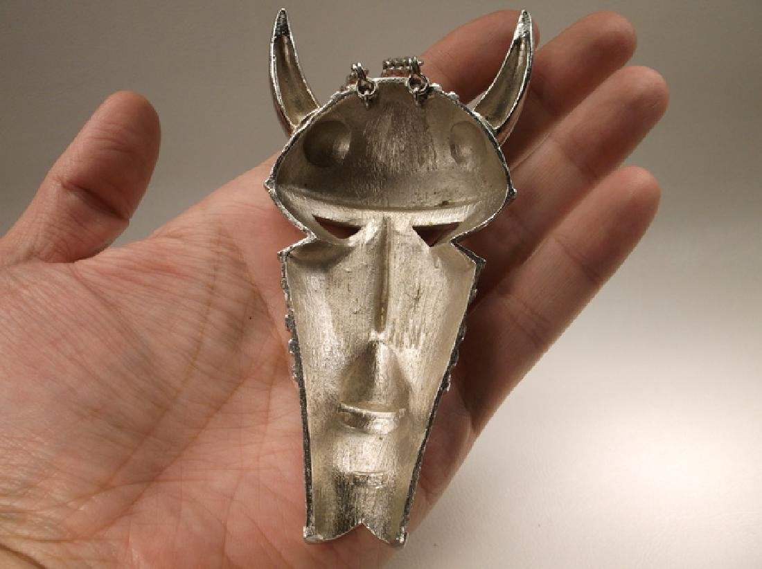 Extremely Rare Vint 1970s Trifari Huge Horned Tribal - 5