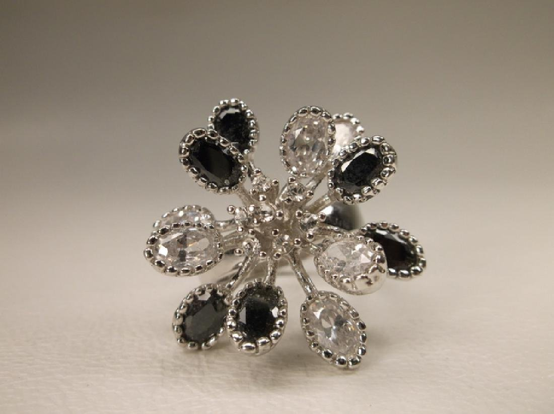 Gorgeous Black & White Crystal Cocktail Ring in Size 7