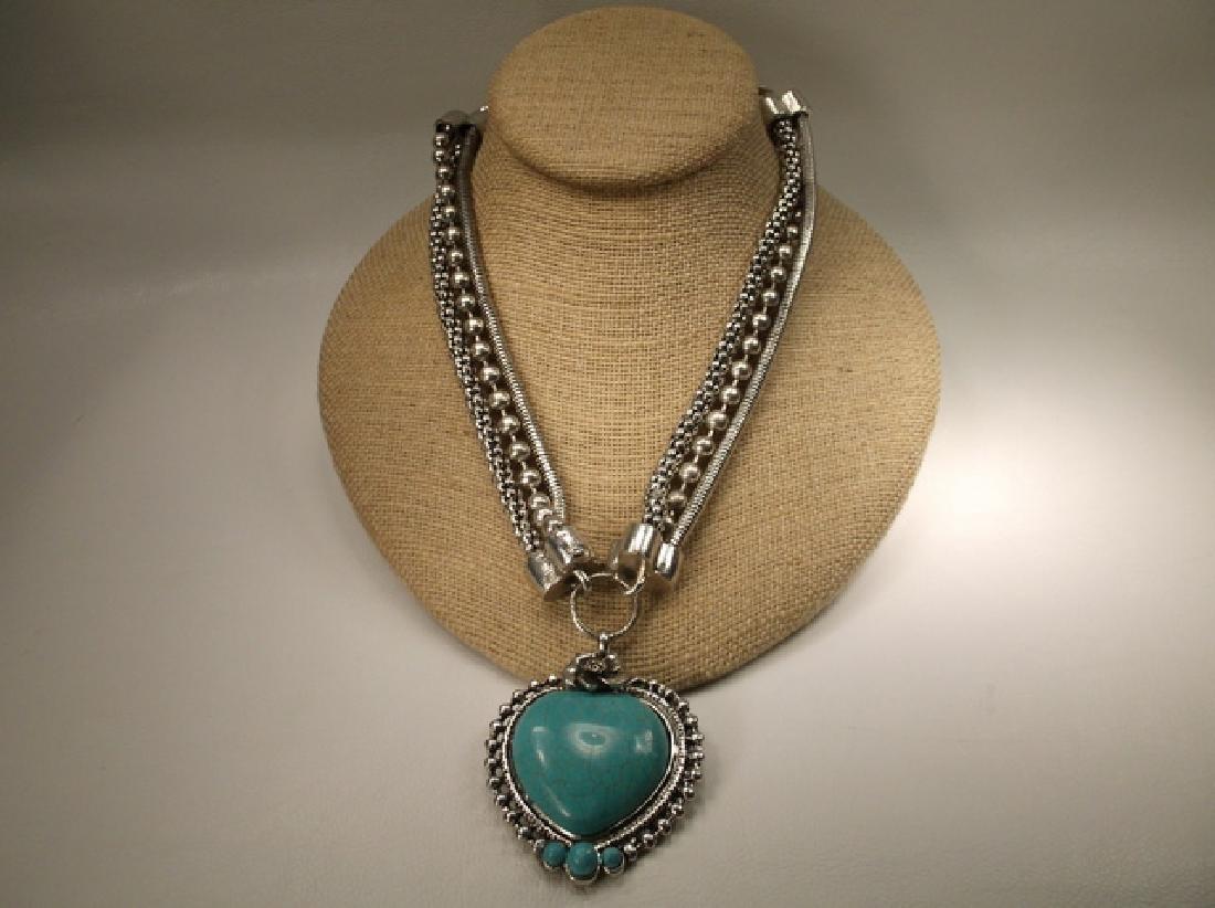 Gorgeous Large Southwestern 3 Row Heart Necklace 18-21