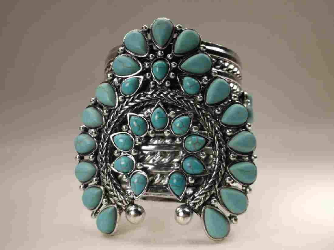 Gorgeous Huge Southwestern Cuff Bracelet 7.5 Inch