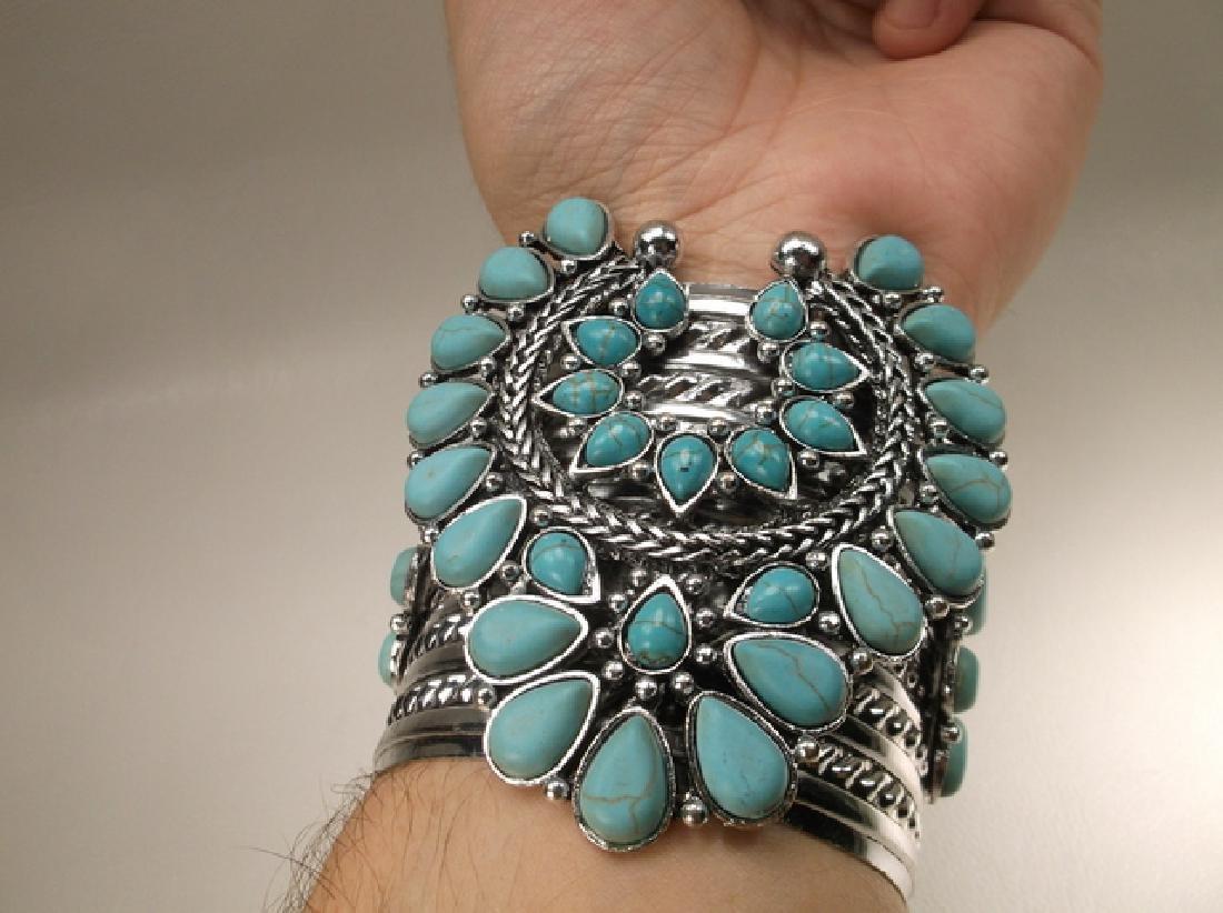 Gorgeous Huge Southwestern Cuff Bracelet 7.5 Inch - 5