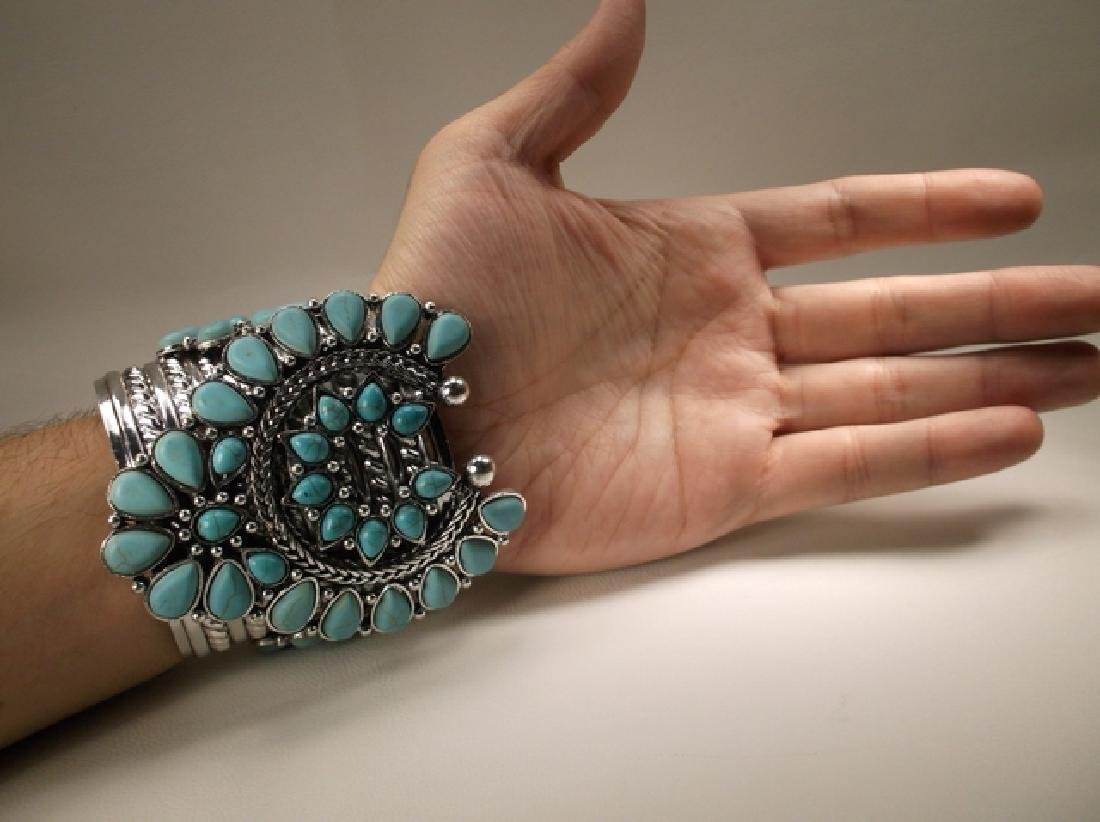 Gorgeous Huge Southwestern Cuff Bracelet 7.5 Inch - 6