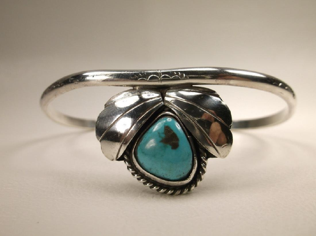 Stunn Vint Old Pawn Sterling Silver Turquoise Cuff
