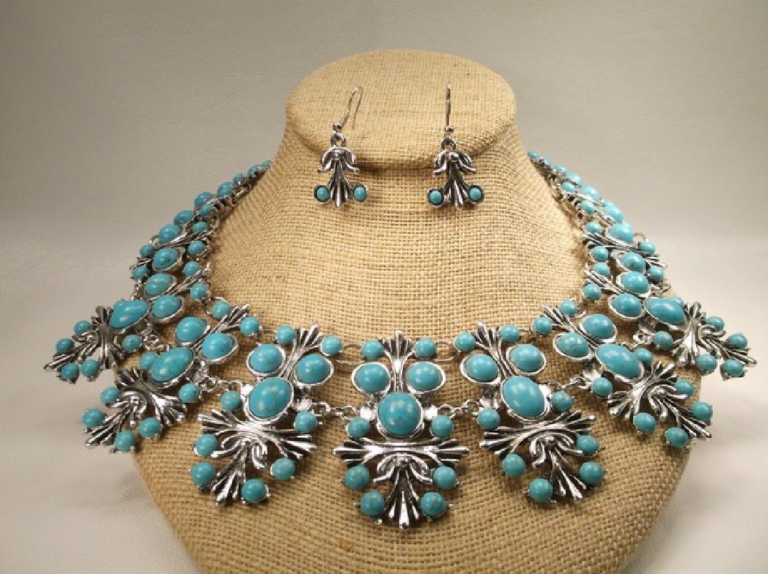 Stunning Huge Southwestern Necklace & Earrings Set