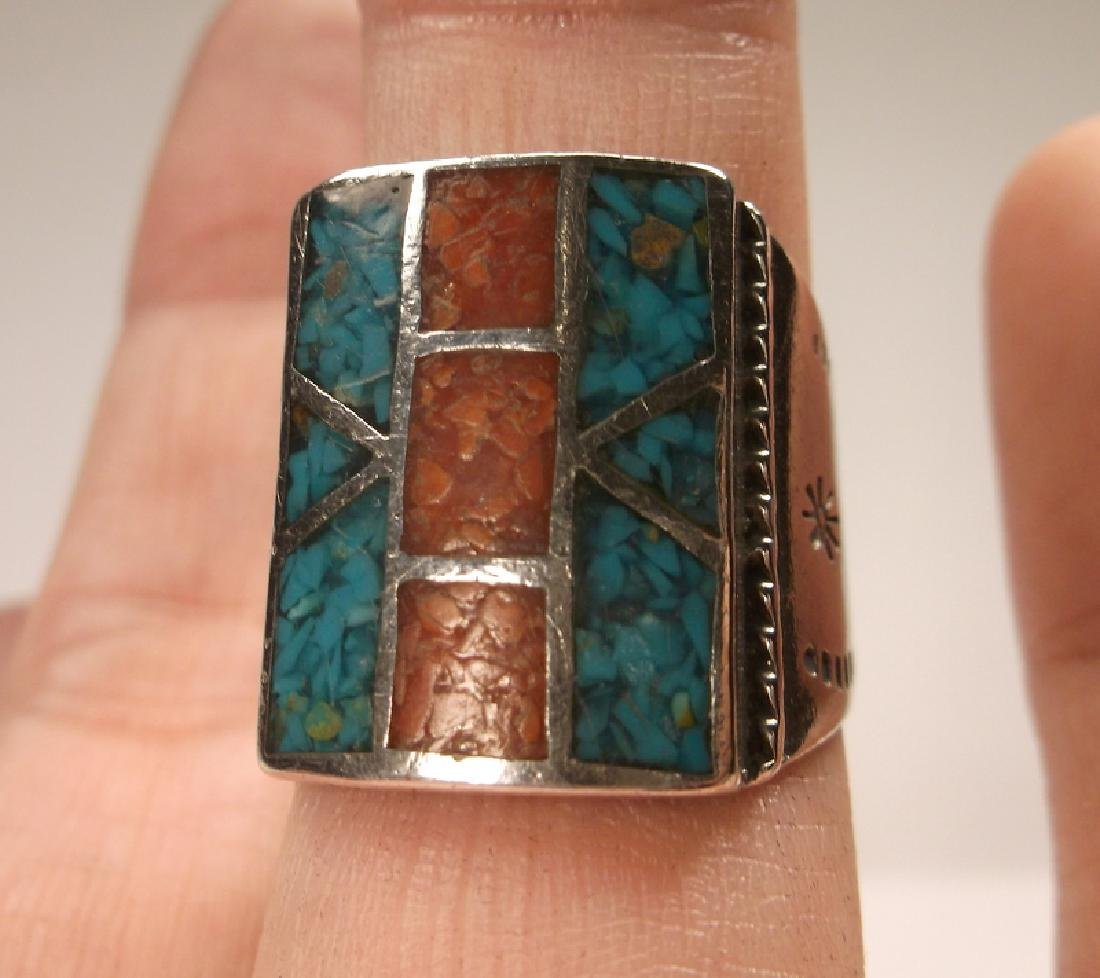 Incredible Old Pawn Sterling Turquoise Red Coral Ring