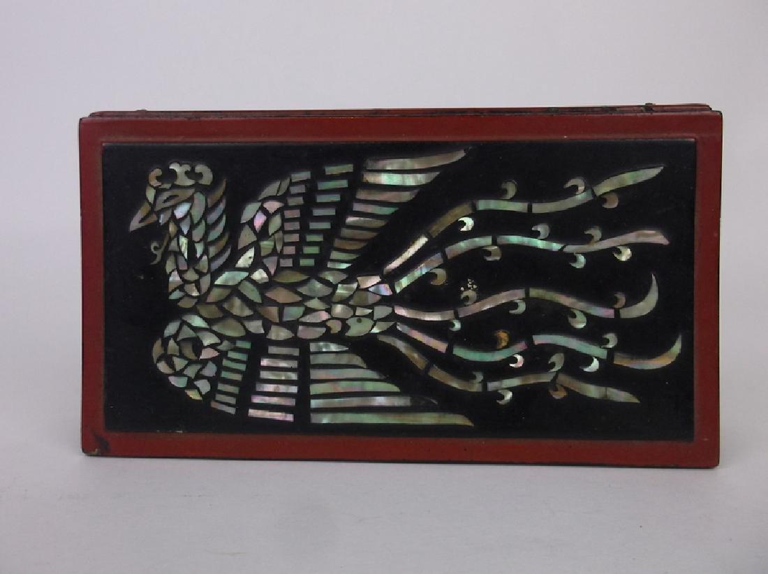 Gorgeous Antique Abalon Inlay Phoenix Bird Box