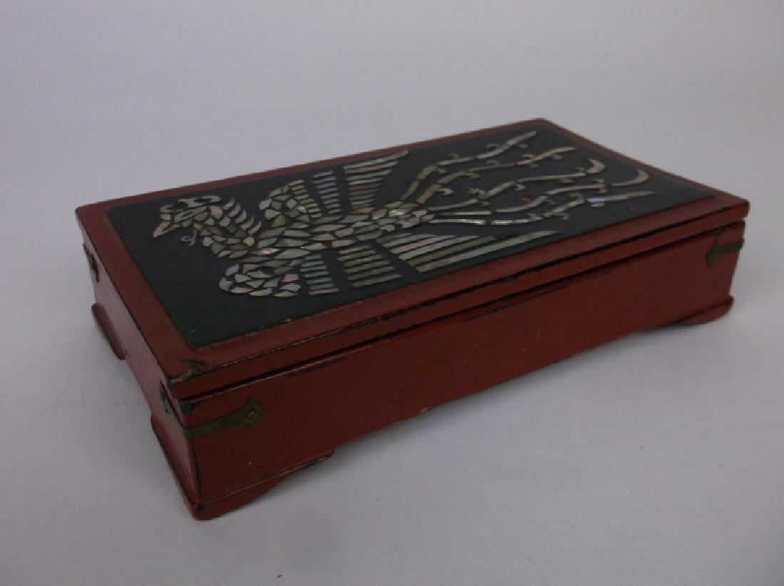 Gorgeous Antique Abalon Inlay Phoenix Bird Box - 3