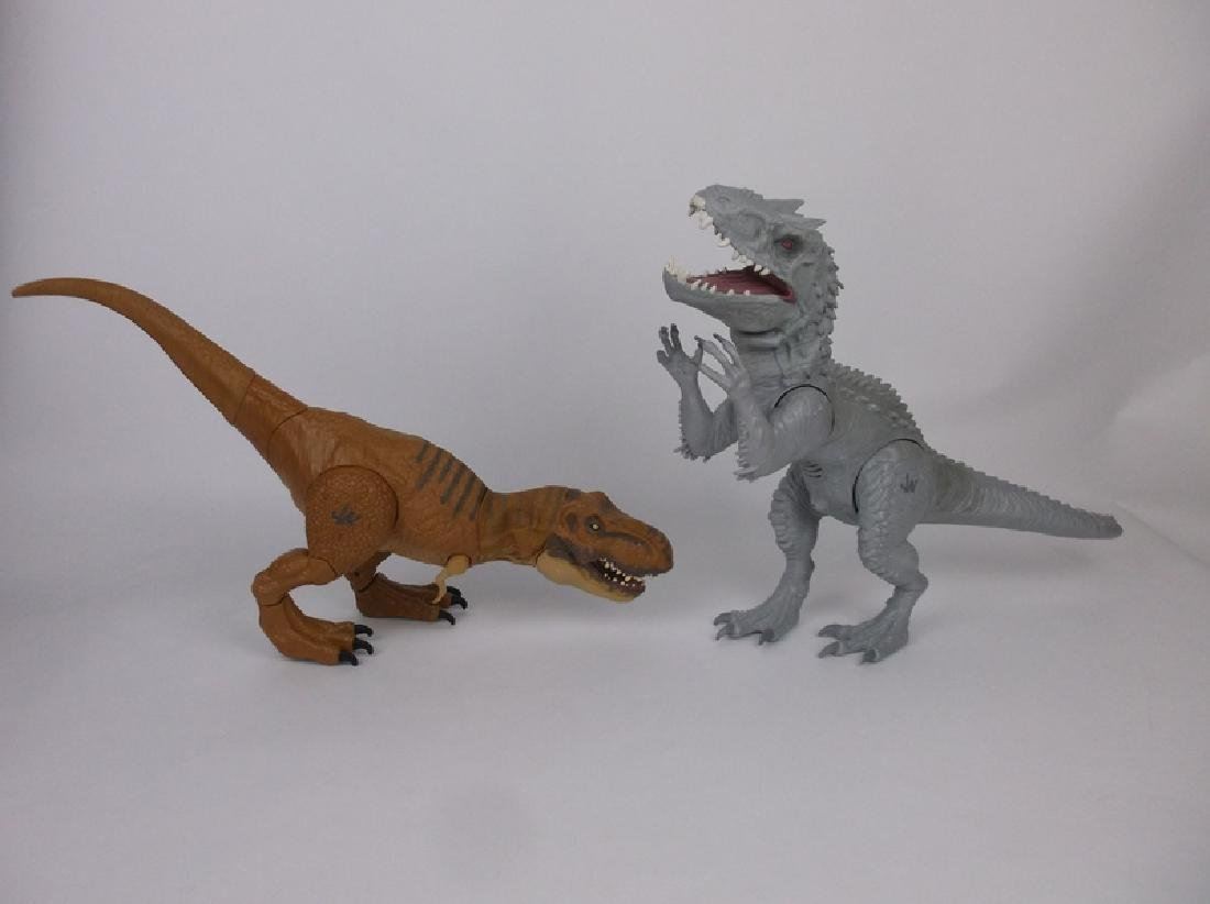 2 Large Animated Jurassic World T Rex +