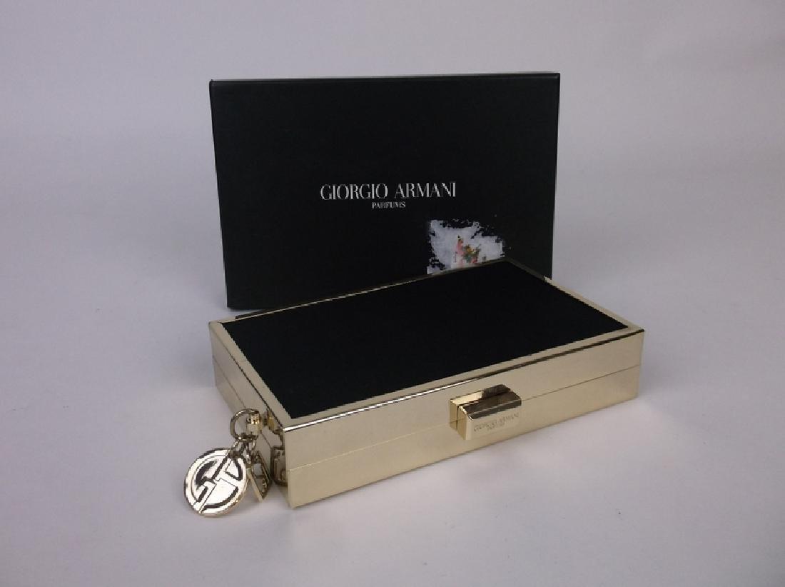 New Giorgio Armani Hard Cast Clutch In Box Black