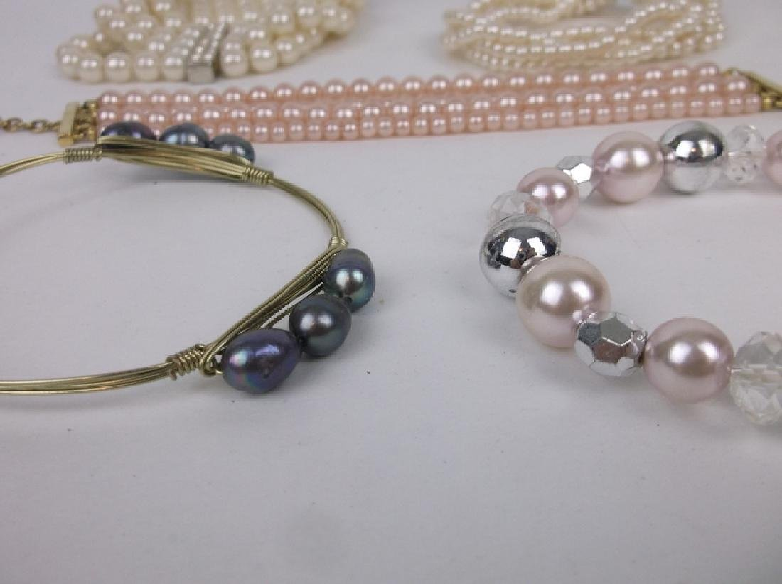 Estate Collection Pearl Faux Pearl Bracelet Lot - 2