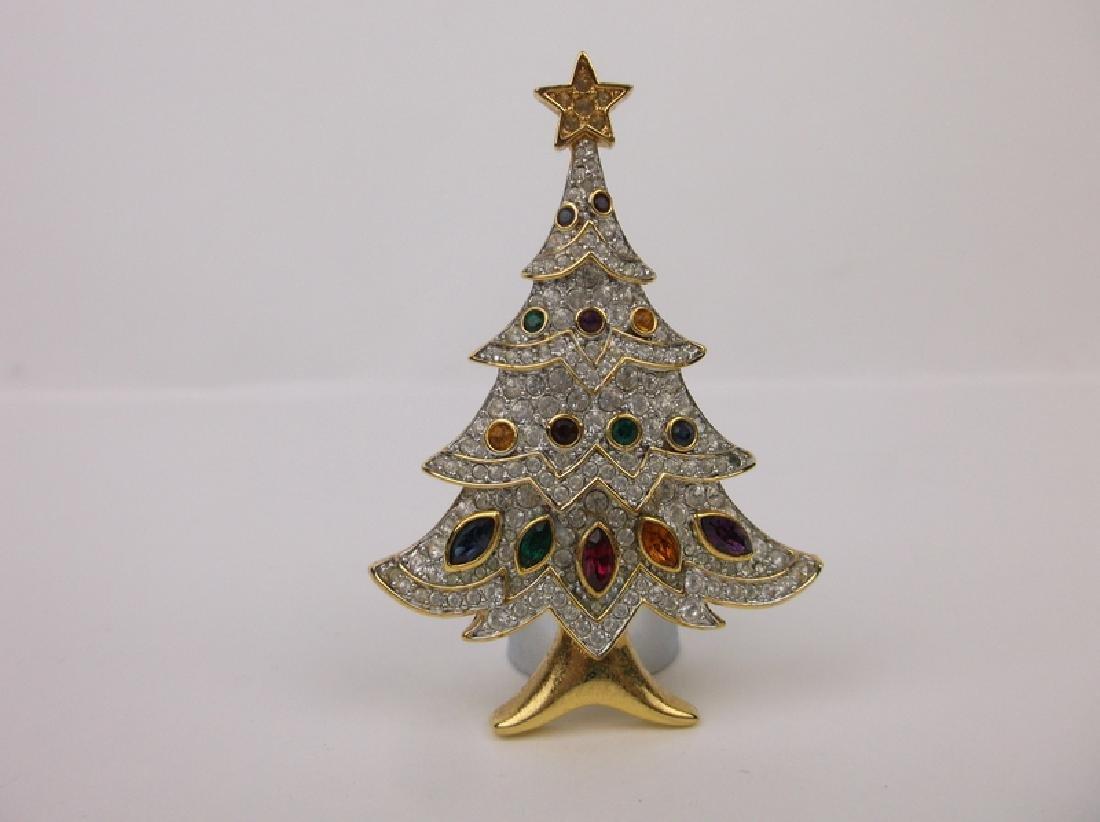 Stunning Rhinestone Christmas Tree Brooch