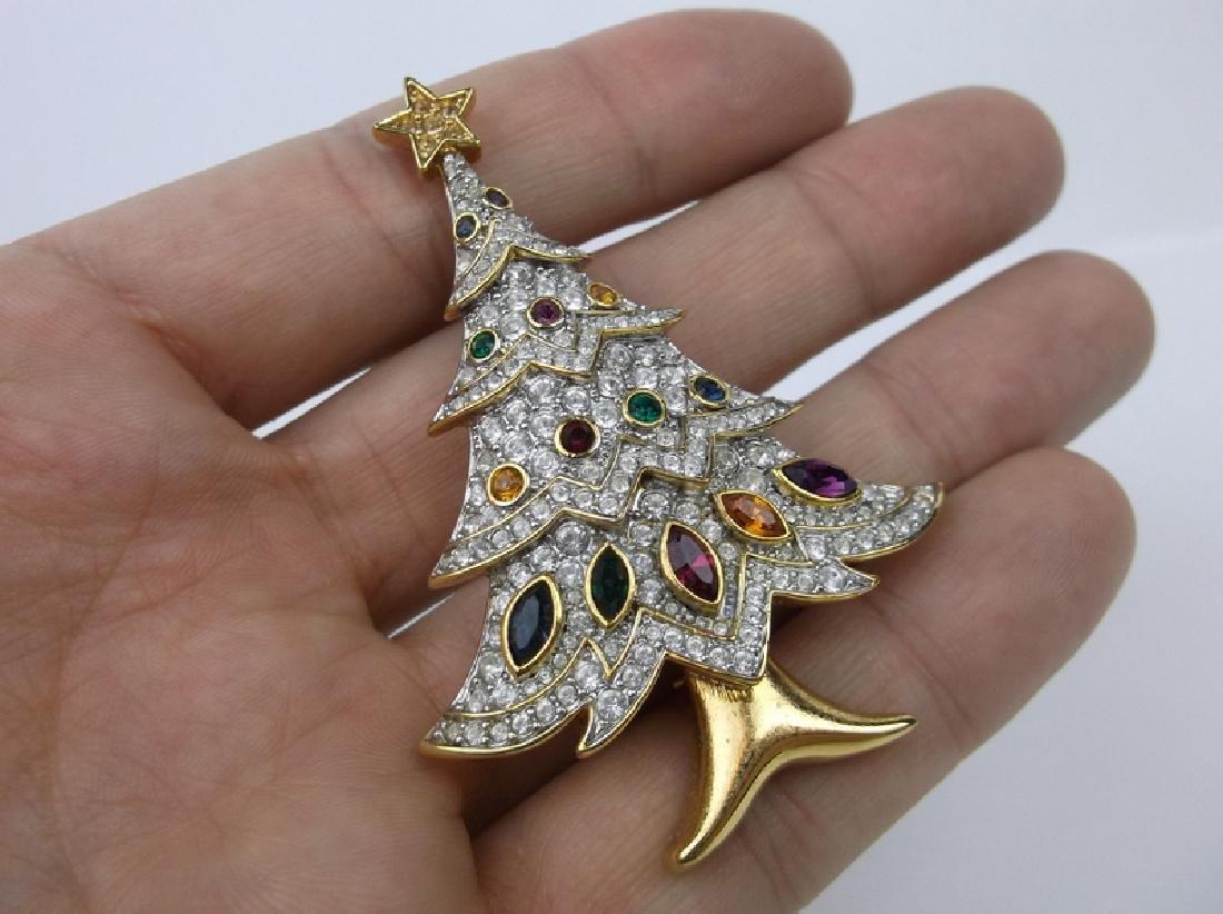 Stunning Rhinestone Christmas Tree Brooch - 2