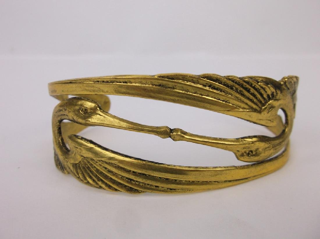 Stunning Double Crane Cuff Bracelet