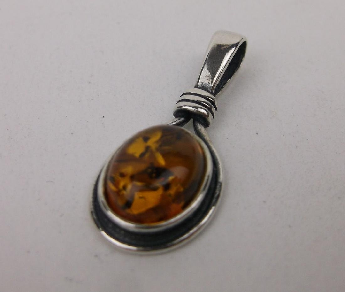 Gorgeous Sterling Silver Amber Pendant