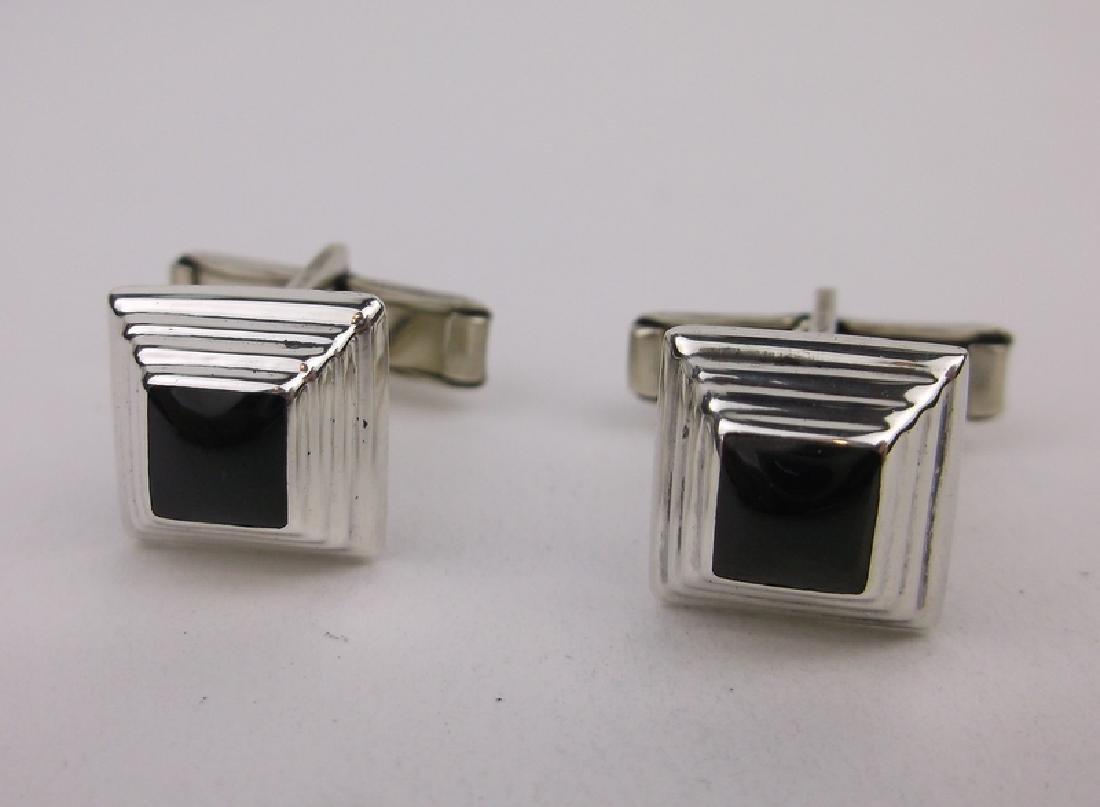 Gorgeous Sterling Silver Onyx Cufflinks